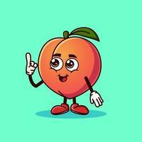 personagem de fruta pêssego bonito com cara feliz e gesto apontando para cima. vetor