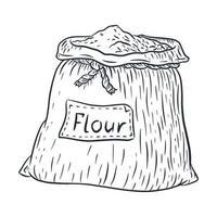 Saco de arte de linha com ilustração de farinha vetor