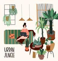 Floresta urbana. Ilustração vetorial com plantas de casa.