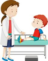 Um menino ferido perna