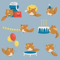 gato engraçado com atributos de festa diferentes vetor
