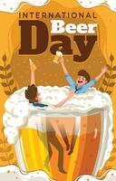 conceito de dia internacional da cerveja com pessoas torrando cerveja vetor