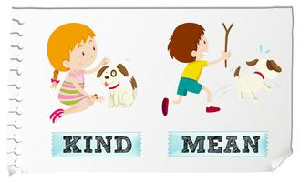 Adjetivos opostos são amáveis e significam