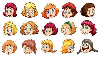 Senhoras com diferentes expressões vetor