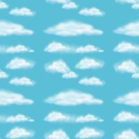 Projeto de plano de fundo sem emenda com nuvens fofas vetor
