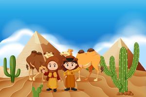 Crianças e camelos no deserto vetor