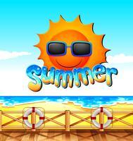 Tema de verão com oceano e sol vetor