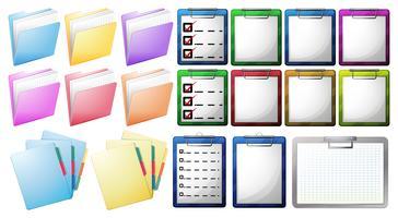 Arquivos na área de transferência e pastas vetor
