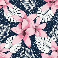 flores de frangipani rosa padrão sem emenda abstraem base. vetor