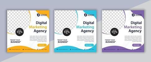 postagem em mídia social de marketing digital, design de folheto de marketing empresarial vetor