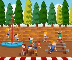 Crianças, tocando, ligado, pátio recreio vetor