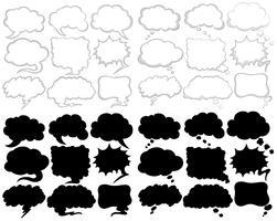 Desenhos de bolha do discurso diferente em preto e branco vetor