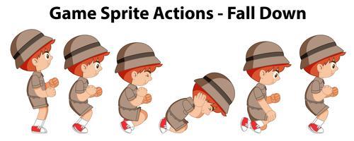 Ações sprite jogo - cair vetor