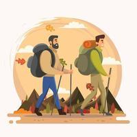 dois homens caminhando para a montanha no outono vetor