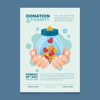 evento de pôster de doação e caridade vetor