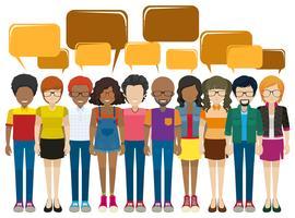 Uma rede de pessoas com textos explicativos vazios vetor