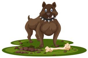 Um pitbull e osso vetor
