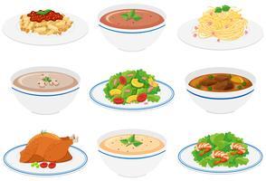 Diferentes tipos de comida em pratos e tigelas vetor