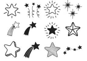 conjunto de estrelas de doodle desenhadas à mão negra vetor