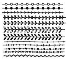 Conjunto de borda de linha de vetor desenhado à mão e elemento de design de rabisco