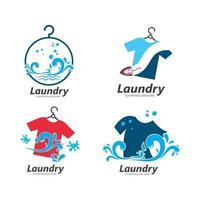 projeto da ilustração do ícone do vetor do logotipo da lavanderia