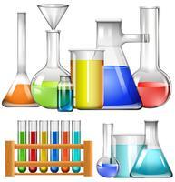 Copos de vidro e tubos de ensaio vetor