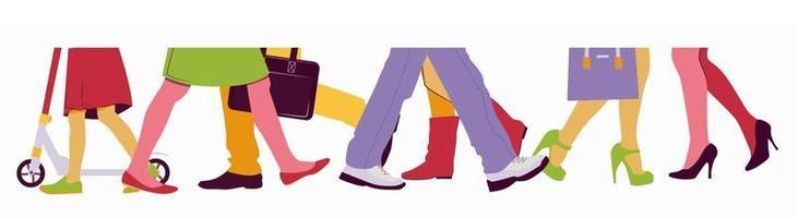 homens e mulheres caminham no meio da multidão. ilustração da metade inferior vetor