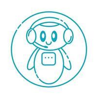sorrindo fofo robô bate-papo logotipo do bot. conceito de serviço de suporte. vetor