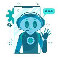sorrindo robô de personagem de bot de bate-papo ajudando a resolver problemas. vetor