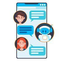 conceito de chatbot. usuários conversando com um robô fofo vetor