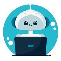 sorrindo fofo robô bate-papo bot. conceito de serviço de suporte. vetor