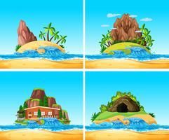 O conjunto da ilha de verão vetor