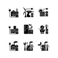 ícones de glifo preto de energia elétrica definidos no espaço em branco vetor