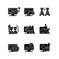 ícones de glifo preto de jogabilidade online definidos no espaço em branco vetor