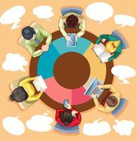 Pessoas negócio, trabalhar, a, mesa redonda vetor