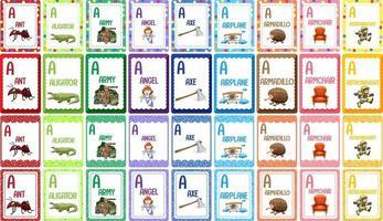 conjunto de flashcard alfabético vetor
