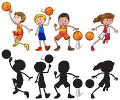 Conjunto de personagem de atleta de basquete vetor