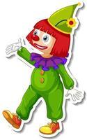 modelo de adesivo com personagem de desenho animado de palhaço feliz vetor