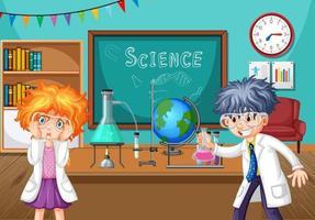 dois jovens cientistas fazendo experimentos de química em sala de aula vetor