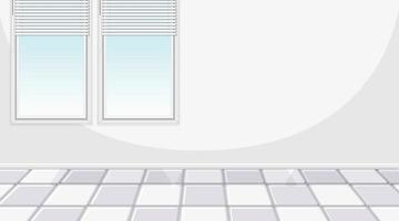 sala branca vazia com janelas e azulejos brancos vetor