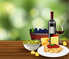 Refeição com cena de vinho vetor