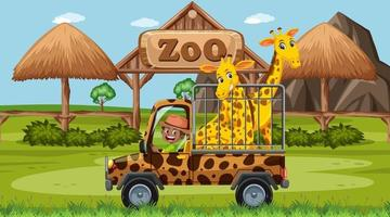cena de safári durante o dia com grupo de girafas na caminhonete vetor