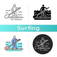 ícone de surf de remo vetor