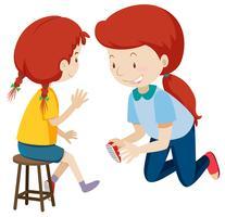 Mãe ajudando criança colocar sapatos vetor
