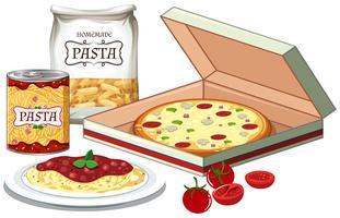 Cena de pizza e massas vetor