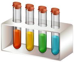 Tubos de ensaio com produtos químicos vetor