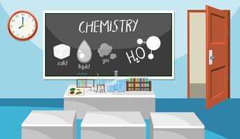 Interior da sala de aula de química vetor