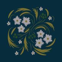 flores folclóricas arte floral impressão flores arte abstrata vetor
