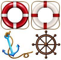 Símbolo marinho com anéis de segurança e âncora vetor