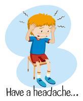 Um, menino, tendo, um, dor de cabeça vetor